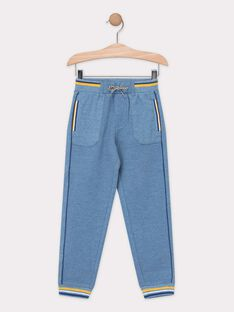 Pantalon molletonné bleu chiné garçon  TECHINAGE / 20E3PGD1PAN721