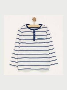 Tee shirt manches longues blanc à rayures RASICAGE3 / 19E3PGB3TML001