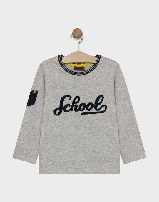 Tee-shirt manches longues gris chiné imprimé garçon SATOUAGE / 19H3PG41TML943