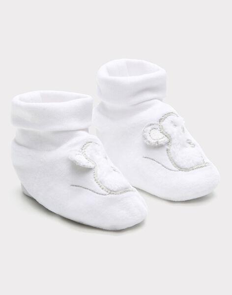 Chaussons de naissance blancs en velours bébé mixte SYARIEL / 19H0AM11CHP000