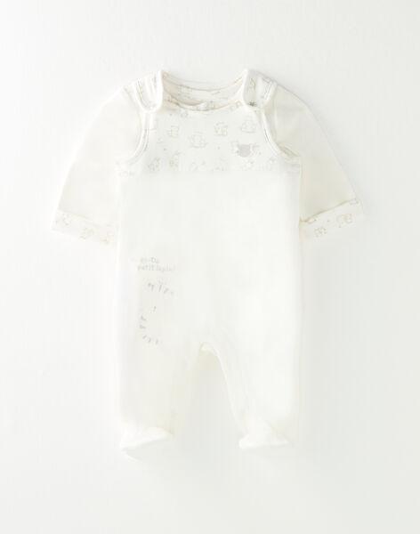 Ensemble cardigan et salopette bébé mixte  VICTORINE / 20H0NM12ENS001