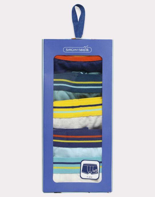 Lot de 5 boxers unis et colorés - bande élastique à rayures en contour de taille  SEMAINAGE / 19H5PG81BOX614