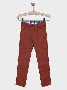 Pantalon rouge brique en twill garçon SAETAGE / 19H3PG21PANF519