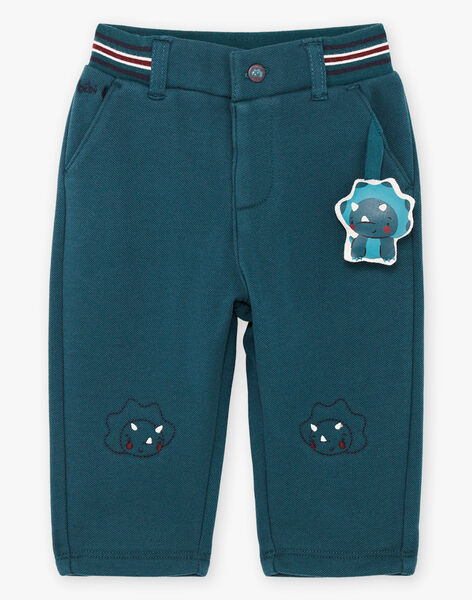 Pantalon vert émeraude broderies dinosaures bébé garçon BAJENSEN / 21H1BG91PAN608
