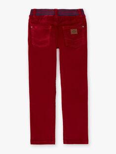 Pantalon rouge orangé empiècements enfant garçon BUXUAGE2 / 21H3PGF3PANF527