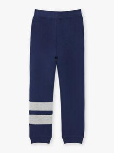 Pantalon de jogging bleu marine et gris à détails contrastés enfant garçon ZEJOGAGE2 / 21E3PGK1JGB070