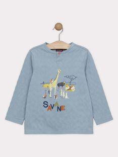 Tee-shirt manches longues bleu imprimé savane garçon SAMUAGE / 19H3PG62TML205