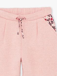 Bas de jogging rose à détails motif fleuri enfant fille BRODETTE / 21H2PF31JGBD314