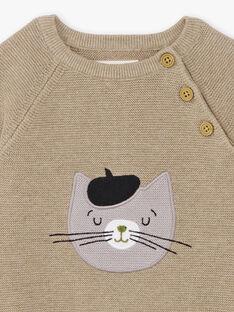 Pull beige chiné broderie chat bébé garçon BADAO / 21H1BG21PULA013