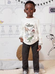 T-shirt écru imprimé dinosaures enfant garçon BAMOAGE / 21H3PG21TML001