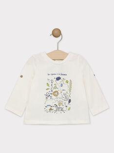 Tee-shirt manches longues bébé garçon écru avec placé poitrine  SAKENZO / 19H1BG61TML001