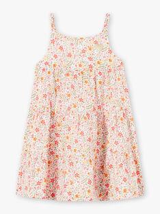 Robe à bretelles écrue imprimé fleuri enfant fille ZROBETTE 4 / 21E2PFW1RBS001