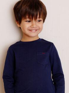 T-shirt bleu marine manches longues et détail poche enfant garçon ZAZOAGE1 / 21E3PGK3TML070