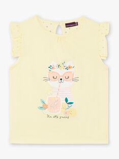 T-shirt jaune motif chat et dentelle enfant fille ZILEMETTE / 21E2PFO1TMCB104