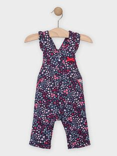 Salopette fleurie bleue bébé fille TADINA / 20E1BFC1SAL070