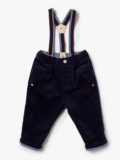 Pantalon bleu marine à bretelles  VASLOAN / 20H1BGY2PAN713