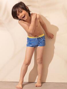 Short de bain bleu à rayures blanches enfant garçon ZYRAYAGE / 21E4PGR3MAIC221