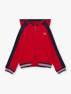 Sweat à capuche rouge et bleu marine enfant garçon BAGE / 21H3PG11GIL050