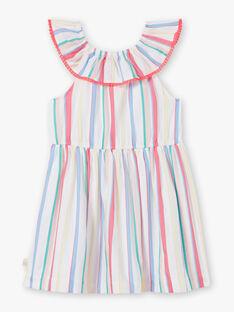 Robe blanche à rayures colorées enfant fille ZYJOLETTE / 21E2PFU1ROB000