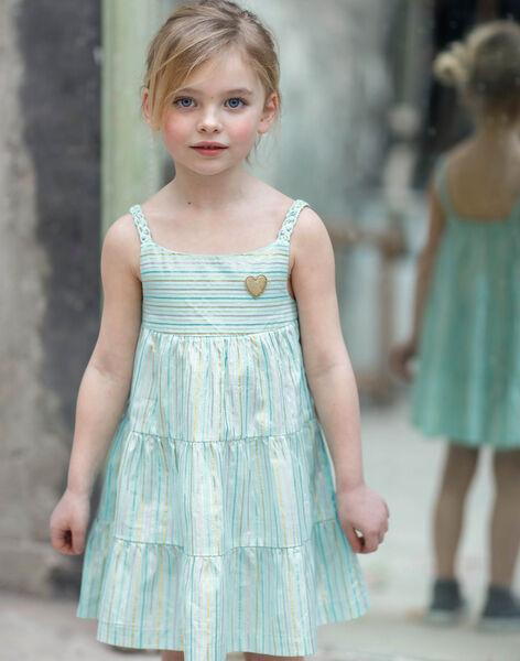 Robe à bretelles bleu ciel et rayures multicolores enfant fille ZROBETTE 6 / 21E2PFW3RBS202