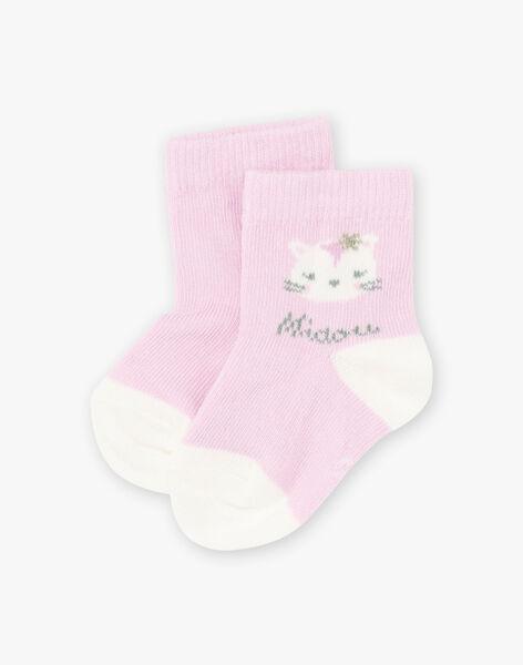 Chaussettes parme motif chat bébé fille BACOLINE / 21H4BF21SOQ320