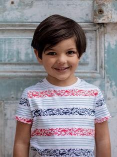 T-shirt marinière rouge et bleu enfant garçon ZIZAGE / 21E3PGT1TMC000