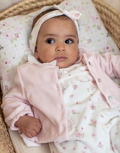 Ensemble grenouillère et veste en velours imprimé fantaisie naissance fille BONITA / 21H0NF42ENS301