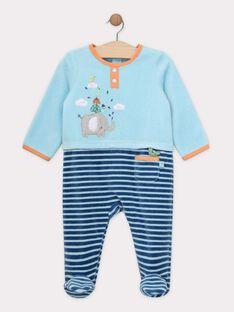 Grenouillere bleu ciel bébé garçon SERONAN / 19H5BGK5GRE020