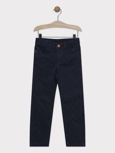 Pantalon bleu nuit en twill garçon SAVOLAGE / 19H3PGC2PAN705