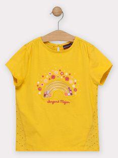T-shirt jaune avec arc-en ciel en volume fille  TOPIFETTE / 20E2PFG2TMC010