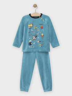 Pyjama bleu astronaute en velours petit garçon SEFUSAGE / 19H5PGK2PYJ203
