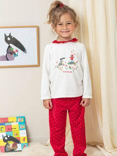 Pyjama rouge et écru en velours avec livre LOUP enfant fille BELOUPETTE / 21H5PFN1PYJ001