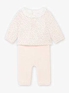 Ensemble body blouse popeline et pantalon rose pâle imprimé fleuri naissance fille BOLEONIE / 21H0CFK2ENS301