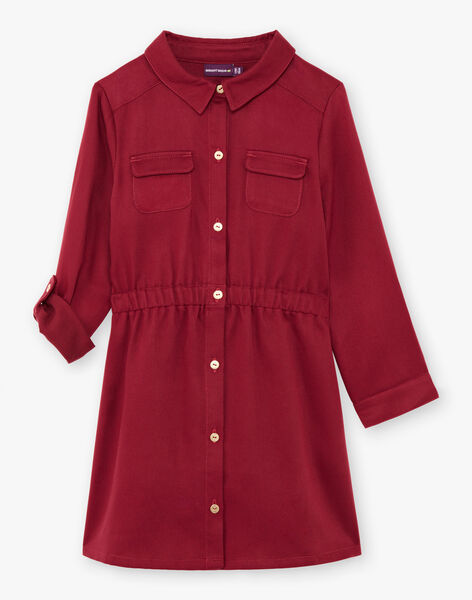 Robe saharienne rouge enfant fille BRORECETTE2 / 21H2PFB7ROB719