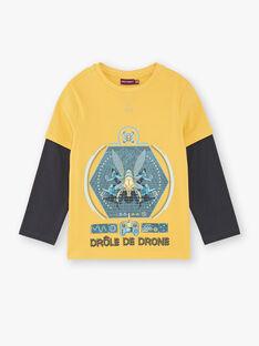 T-shirt jaune manches effet 2-en-1 et motif en relief ZARAGE / 21E3PG91TMLB114