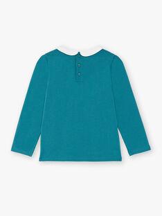 T-shirt bleu canard manches longues et col claudine enfant fille ZLIMETTE 6 / 21E2PFK9TML714