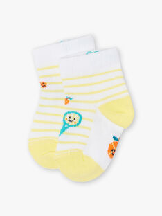 Chaussettes jaunes et blanches imprimées bébé garçon ZAMAX / 21E4BGO1SOQB104