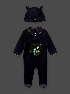 Grenouillère à motifs phosphorescents et bonnet chat bébé garçon BECASPER / 21H5BGH1GRE717