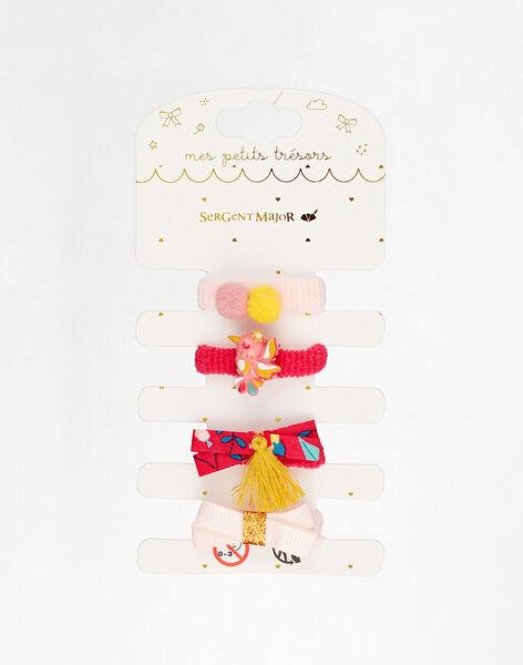 Lot de 4 élastiques oiseau, pompon et nœud petite fille  TIUMAZETTE / 20E4PFL3ELAF510