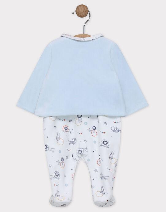 Ensemble cardigan bleu et dors bien imprimé en velours bébé garçon SYALOYSE / 19H0NG11ENS218