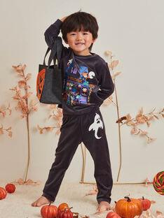Ensemble pyjama gris foncé à motifs phosphorescents et sac citrouille enfant garçon BALOAGE / 21H5PGH1PYJJ905