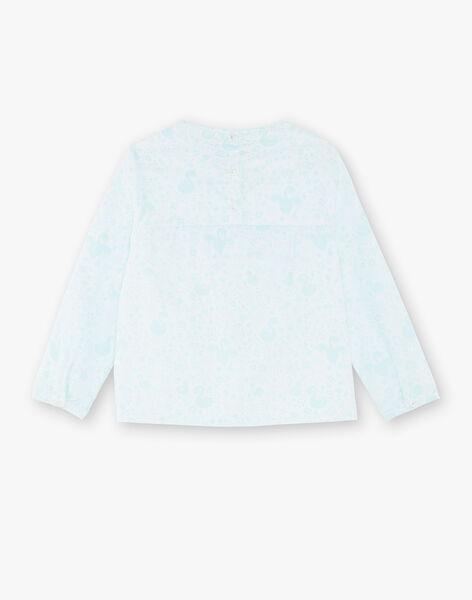 Blouse bleue et blanche imprimée et brodée VEUCHETTE / 20H2PFW1CHE001