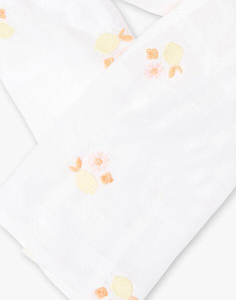 Foulard blanc jacquard et broderies citrons enfant fille ZIFETTE / 21E4PFO1FOU000