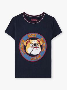 T-shirt bleu marine enfant garçon BEDODAGEEX / 21H3PG52TMC070