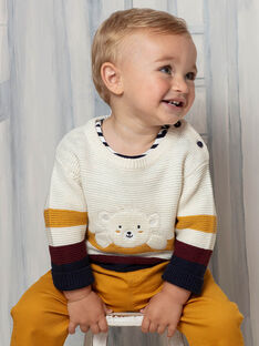 Pull maille brodé à rayures motif ourson bébé garçon BAFLO / 21H1BG51PUL801