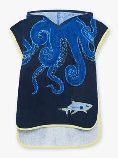 Cape de bain bleu marine motifs tentacules enfant garçon ZYCAPAGE / 21E4PGR1CDBC214