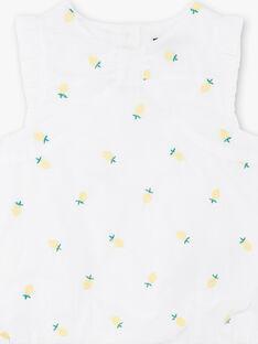 Barboteuse blanchebroderies citrons bébé fille ZANELLY / 21E1BFO1BAR000