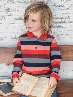 Polo rouge à rayures rouges et bleu marine enfant garçon BUXAGE2 / 21H3PGB3POL050