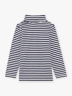 Sous-pull à rayures bleu marine et blanches enfant garçon BUZOZAGE2 / 21H3PGF3SPL705