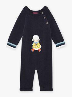 Combinaison maille bleu nuit motif mouton fantaisie bébé garçon BANEWMAN / 21H1BGL1CBLC205